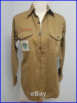 Vintage 1945 Boy Scout Shirt Metal Scout buttons BSA Patches Camper troop 37