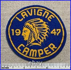 Vintage 1947 CAMP LAVIGNE Boy Scout Felt Camper PATCH BSA Camp Uniform Badge PA