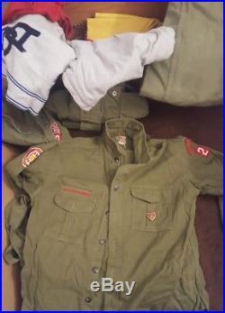 Vintage 1950's Boy Scout Trunk Lot Sash Patches Badges Uniforms Tools Beads Etc