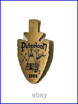 Vintage 1954 Peterloon White Leather Arrowhead BSA Patch Dan Beard Council