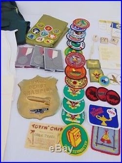 Vintage 1970's Boy Scout Lot BSA Merit Badge Pins Medals Cards Patches Shirts