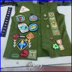 Vintage Boy Scout Green Vest With 35+ Patches & 23 Pins