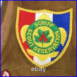 Vintage Boy Scout Leather Vest with 1950s Patches BSA Hubbard Schiff Reservation