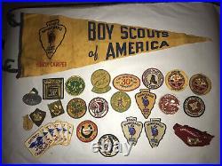 Vintage Boy Scout Lot 1950s COUNCIL, CAMP, Jamboree Patches, Slides, 1 pennant