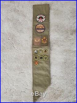 Vintage Boy Scout Merit Badge Sash 1946 1947 Camp Fife Patches, Rank Patches