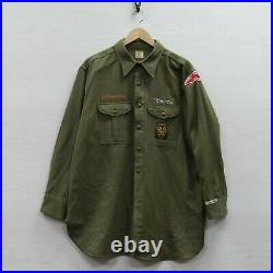Vintage Boy Scouts America Wool Button Shirt XL Green 40s 50s Michigan Patches