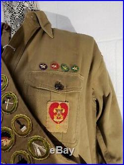 Vintage Boy Scouts Lot Patches/Badges, Shirt, ArrowithSash, Socks, Belt Buckles