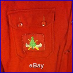 Vintage Boy Scouts Red Wool Official Jacket with Bull Canoe BSA Patches! Large/42