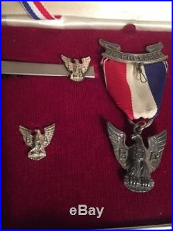 Vintage Boy Scouts of America BSA Sterling Eagle Scout Medal Tie Bar, Pin & Patch