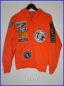 Vintage Boy scout jacket hoodie with patches Medium