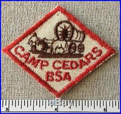 Vintage CAMP CEDARS Boy Scout Hat Diamond PATCH BSA Twill Mid America Council CE