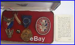Vintage Eagle Boy Scout of America Presentation Box Medals Pins Patch Card 1969