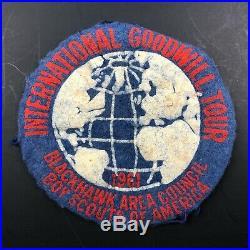 Vintage Felt BOY SCOUTS Patch Blackhawk Area Council International Goodwill Tour