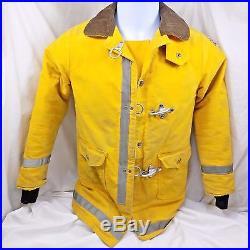Vintage Firefighter Jacket Globe Fireman Army Duck Small Boy Scout Patch 1977