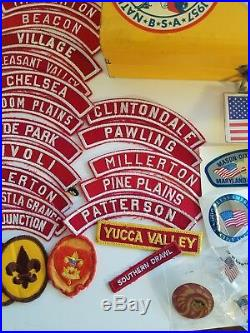 Vintage LotBoy Scouts PatchesMetal Case withLabelsBSAPinsMore Labels/Stickers