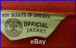 Vintage Official Boy Scouts BSA Red Wool Shirt Jacket Size 46 XL KANSAS PATCHES