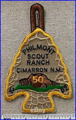 Vintage PHILMONT SCOUT RANCH 50th Anniversary Arrowhead PATCH Yellow Cimarron NM