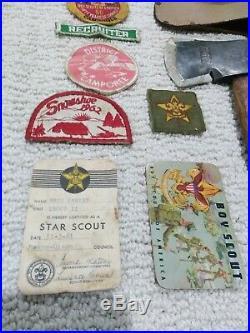 Vintage Plumb Boy Scout Hatchet And Patches