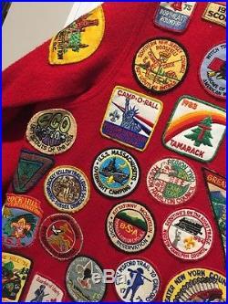 Vintage Rare SZ 50 Boy Scout Wool Jacket 90+ Patches Boston West Point 70's 80's