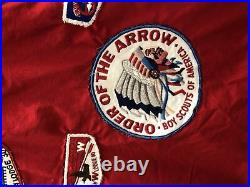 Vintage VTG 1950s 50s Red Boy Scout Patched Patch Bomber Jacket