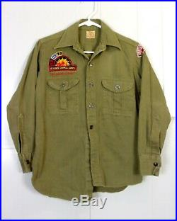 Vtg 40s BSA Boy Scouts Uniform Shirt Metal Buttons with 1940's era patches Youth L
