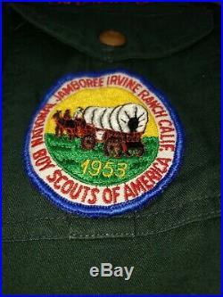 Vtg Boy Scout Sash w 33 Type E Merit Badges w Patches, 1950s w 1953 Shirt. Rare
