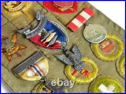 Vtg Boy Scouts of America SashEagle Scout12 Medals Pins65 Patches1945BSA