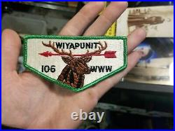 Vtg Wiyapunit Lodge First Flap 106 WWW Order Of The Arrow Boy Scouts Patch MINT